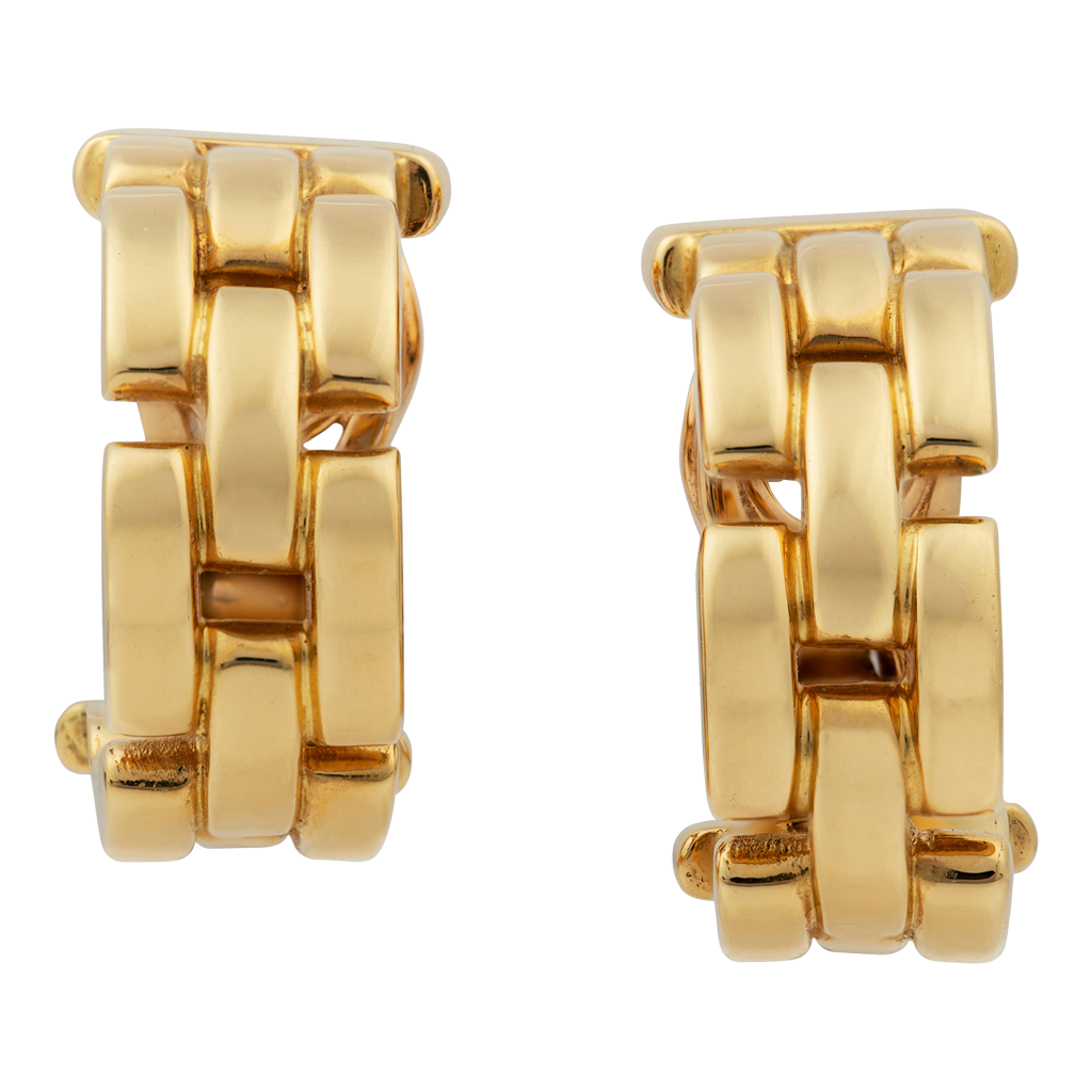 Cartier Maillon Panthere Yellow Gold Hoop Earrings