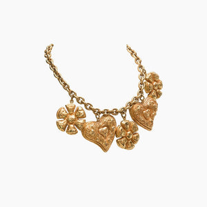 Christian Lacroix Gilt Five-Heart and Flower Pendants on Large Chain, 1990s
