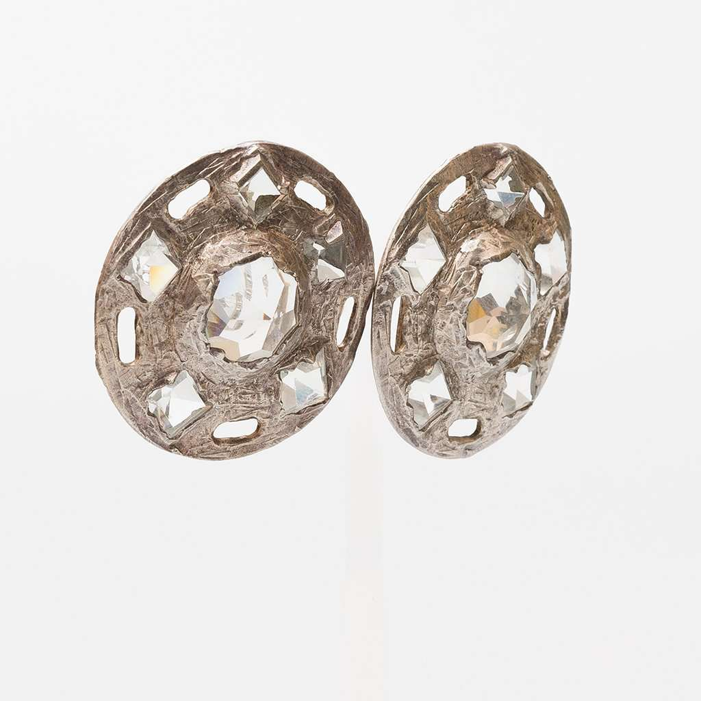 Claude Montana 1990s French Silver Tone and Crystal Big Circle Earrings