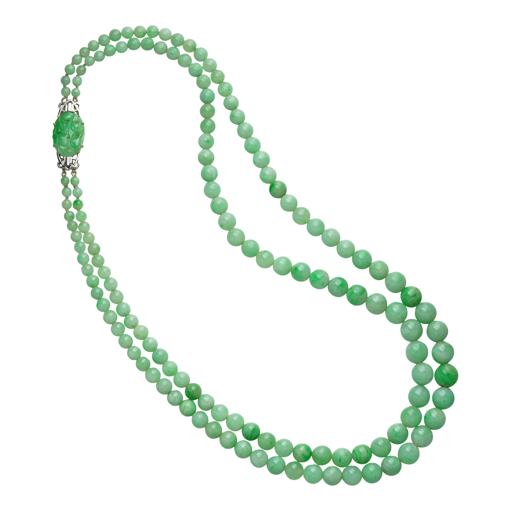 Unsigned Double Row Jade Necklace