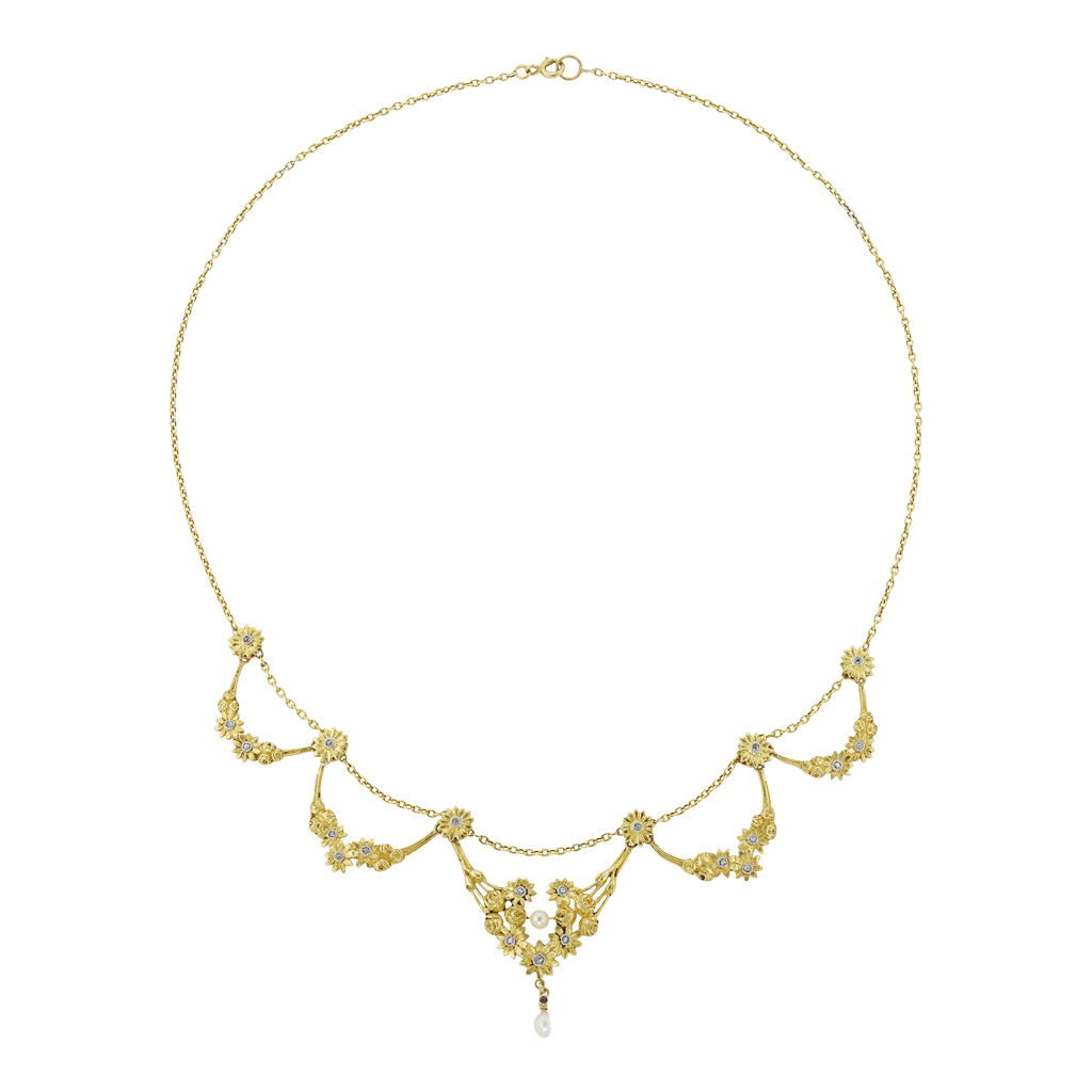 Unsigned Belle Epoque Diamond-set Floral Swag Necklace