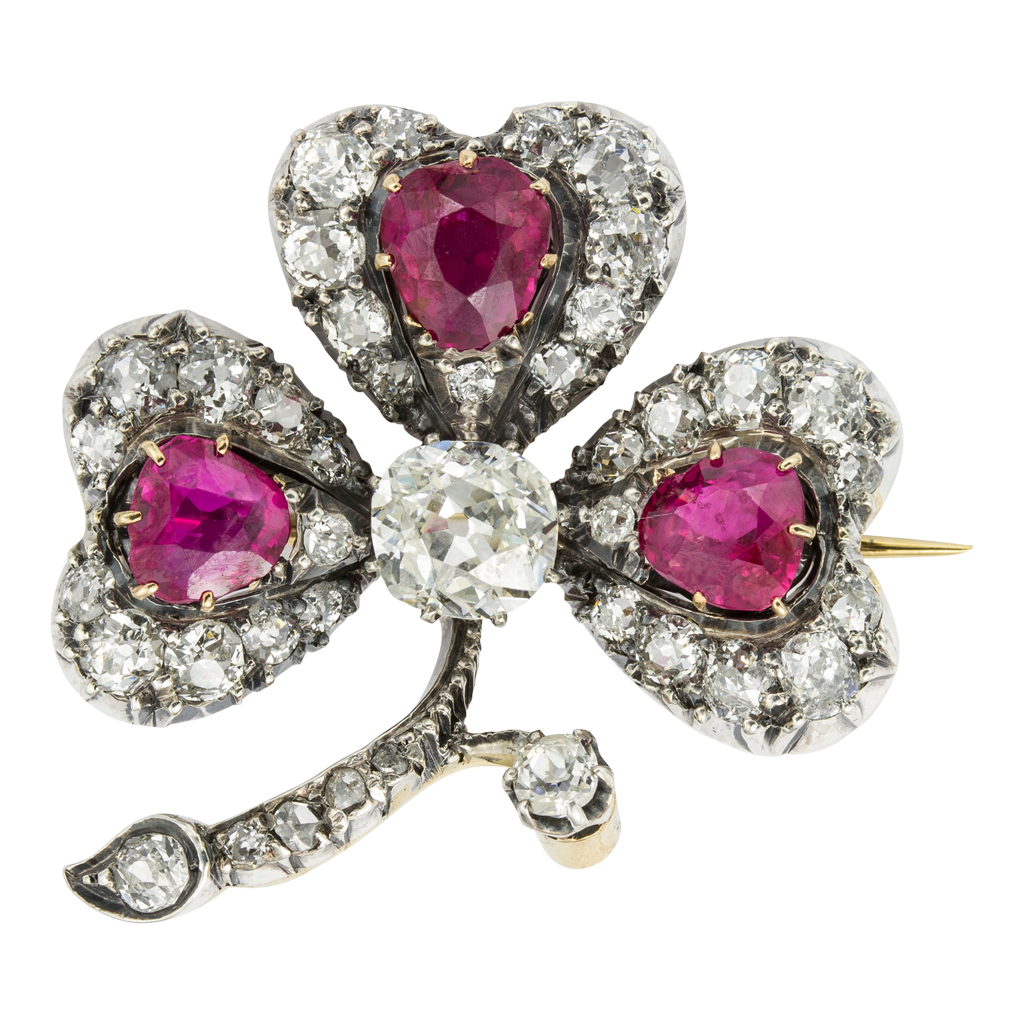 Victorian Ruby and Diamond Three-Leaf Clover Brooch