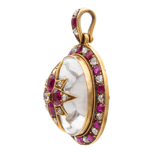 Unsigned Victorian Ruby, Diamond And Crystal Pendant