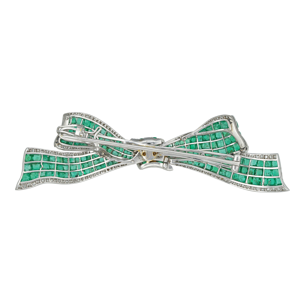 Unsigned Art Deco Emerald And Diamond Bow Brooch