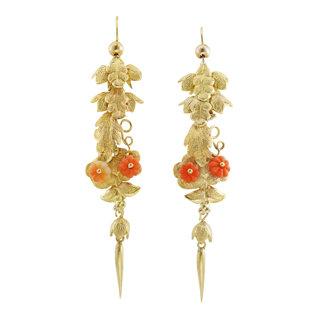 Unsigned Early Victorian Gold and Coral Leaf Drop Earrings