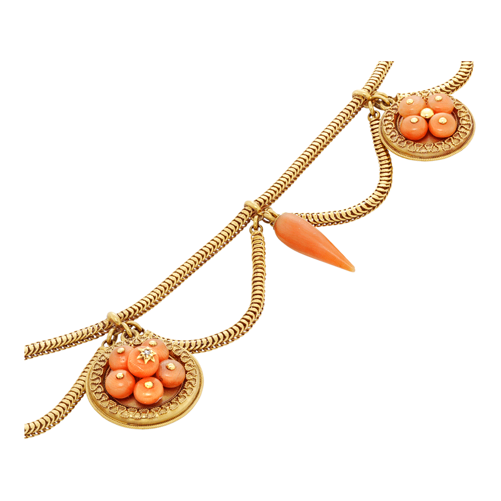 Unsigned Antique Coral And Yellow Gold Swag Necklace