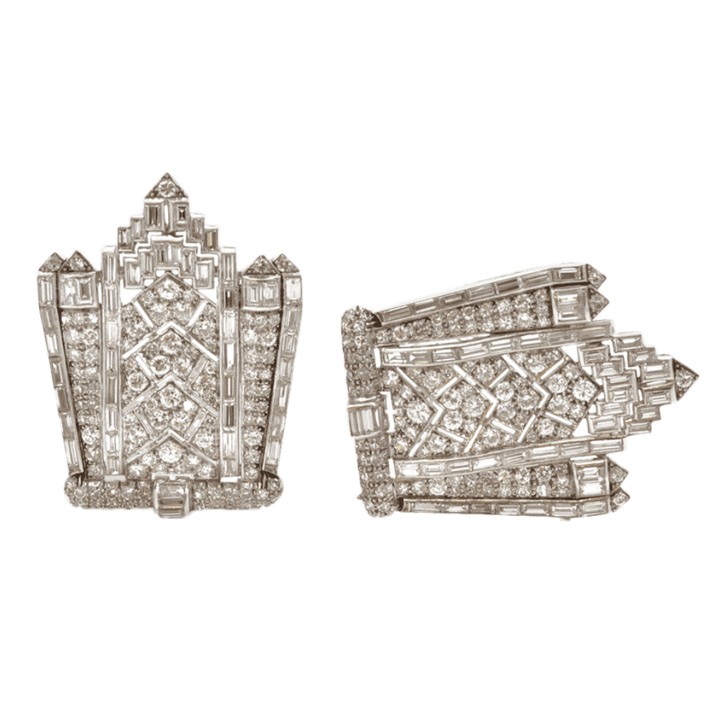 Unsigned Art Deco Diamond Double Clips