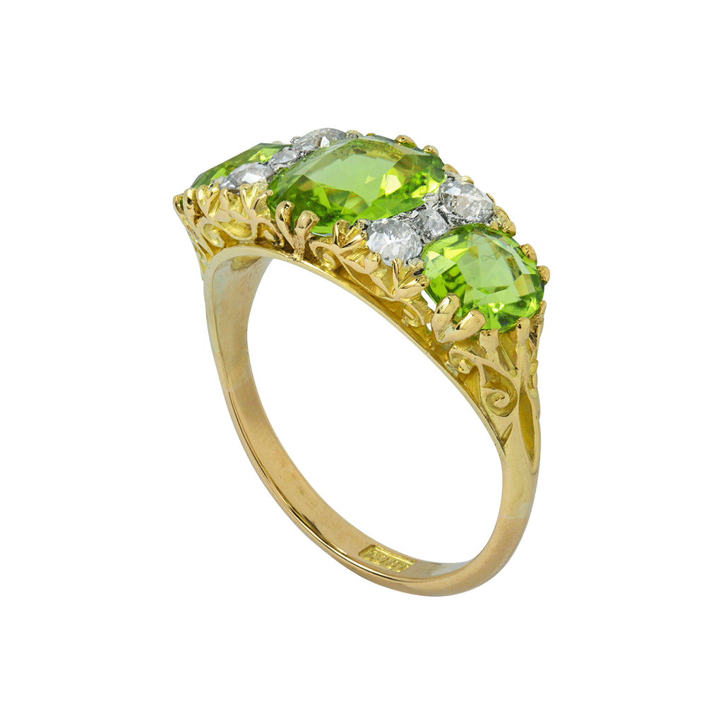 Unsigned Three Stone Peridot Ring