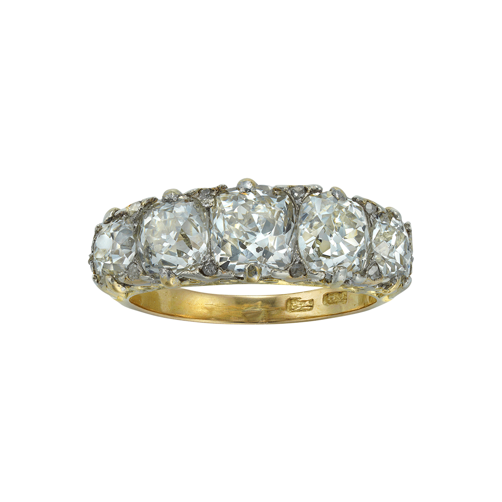 Magnificent Late Victorian Five-stone Diamond Ring
