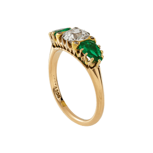 Unsigned Three Stone Emerald And Diamond Ring