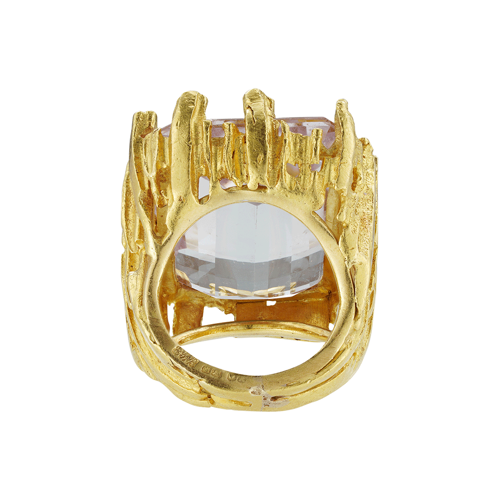 Unsigned Kunzite Textured Ring