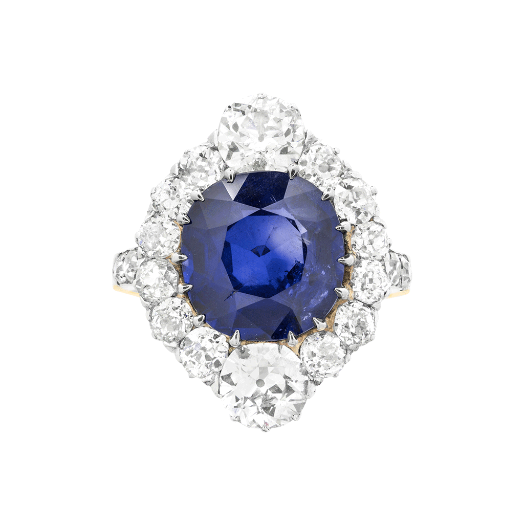 Unsigned Burmese Sapphire And Diamond Cluster Ring