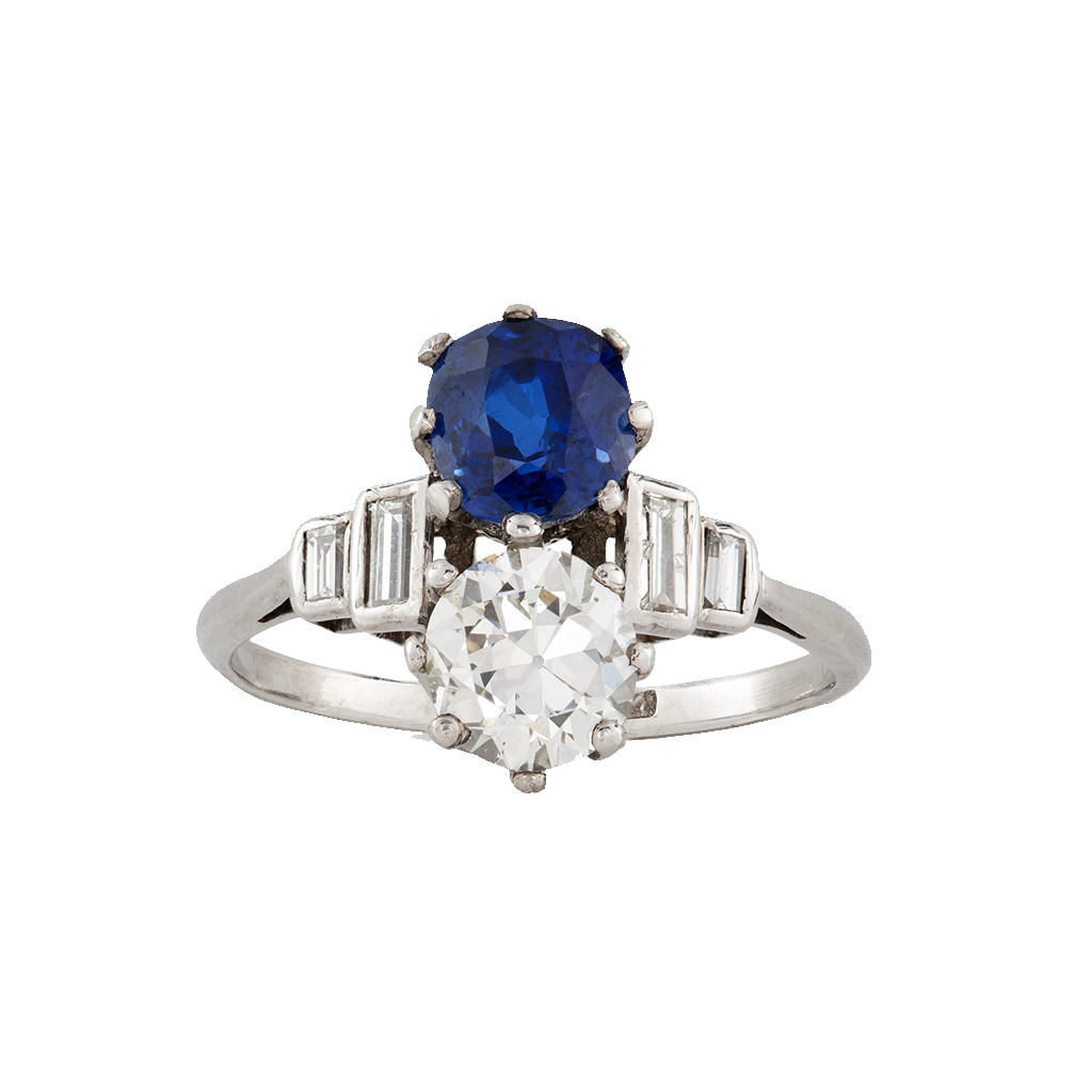 Unsigned Art Deco Diamond And Sapphire Ring