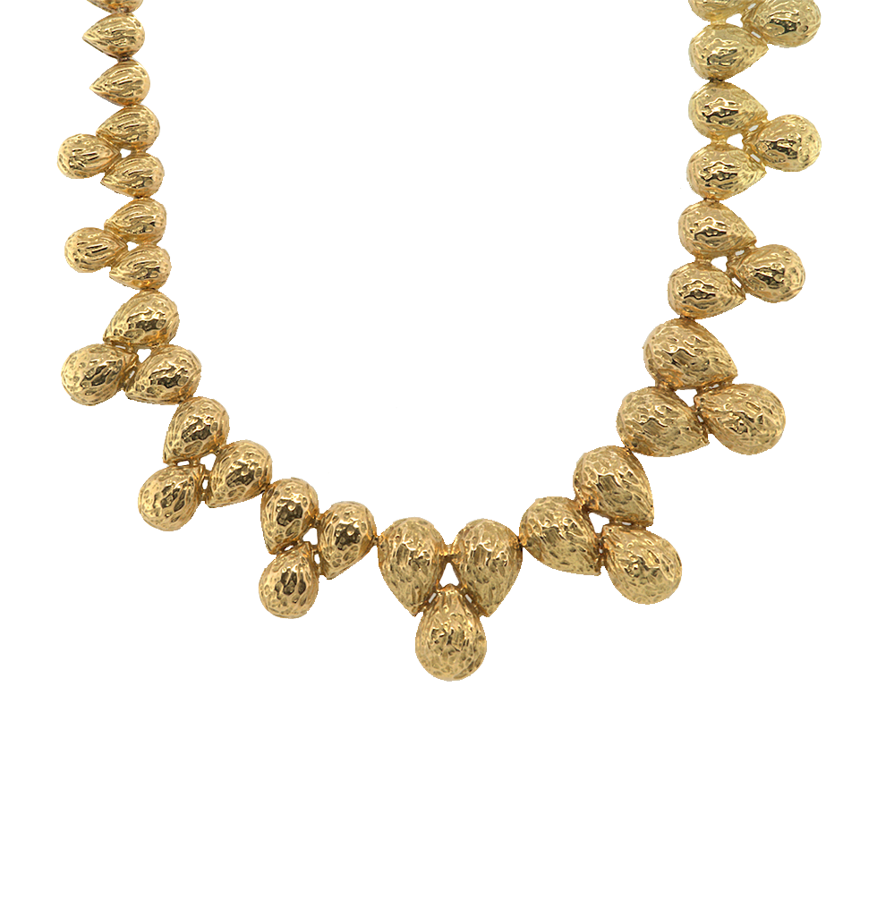Gold Necklace of Articulated Textured Domed Pear-shaped Elements, Chaumet, French, 1970s