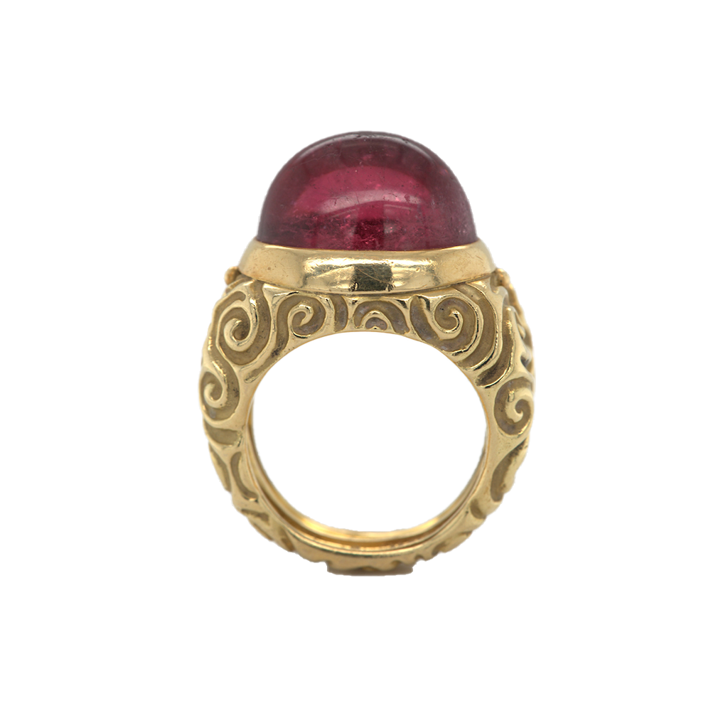 Signed Gold and Cabochon Tourmaline Ring, Elizabeth Gage, British, ca.1990s