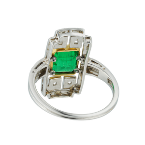Janesich Art Deco Emerald And Diamond Plaque Ring