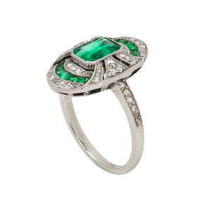 Unsigned Stunning Art Deco Emerald and Diamond Ring