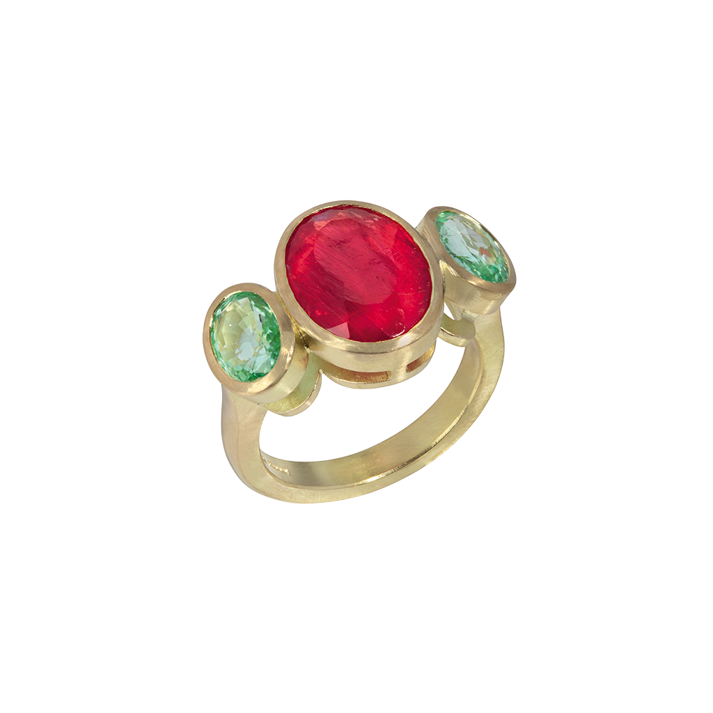 Rhodonite and Paraiba Tourmaline Three Stone Ring