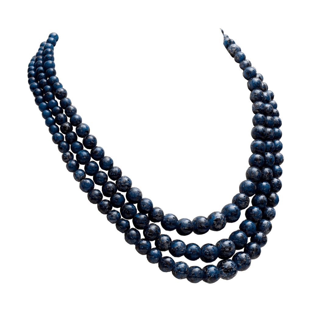 Christian Dior Art Glass Faux Lapis Lazuli 3-Strand Necklace, 1958