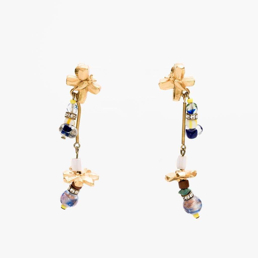 Christian Lacroix 1990s Stylised Gilt Flower Earrings