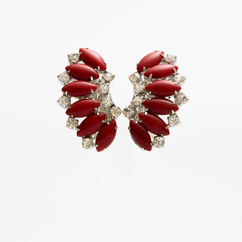 Unsigned 1960s Gale Dark Red Glass and Rhinestone Rhodium Plate Earrings