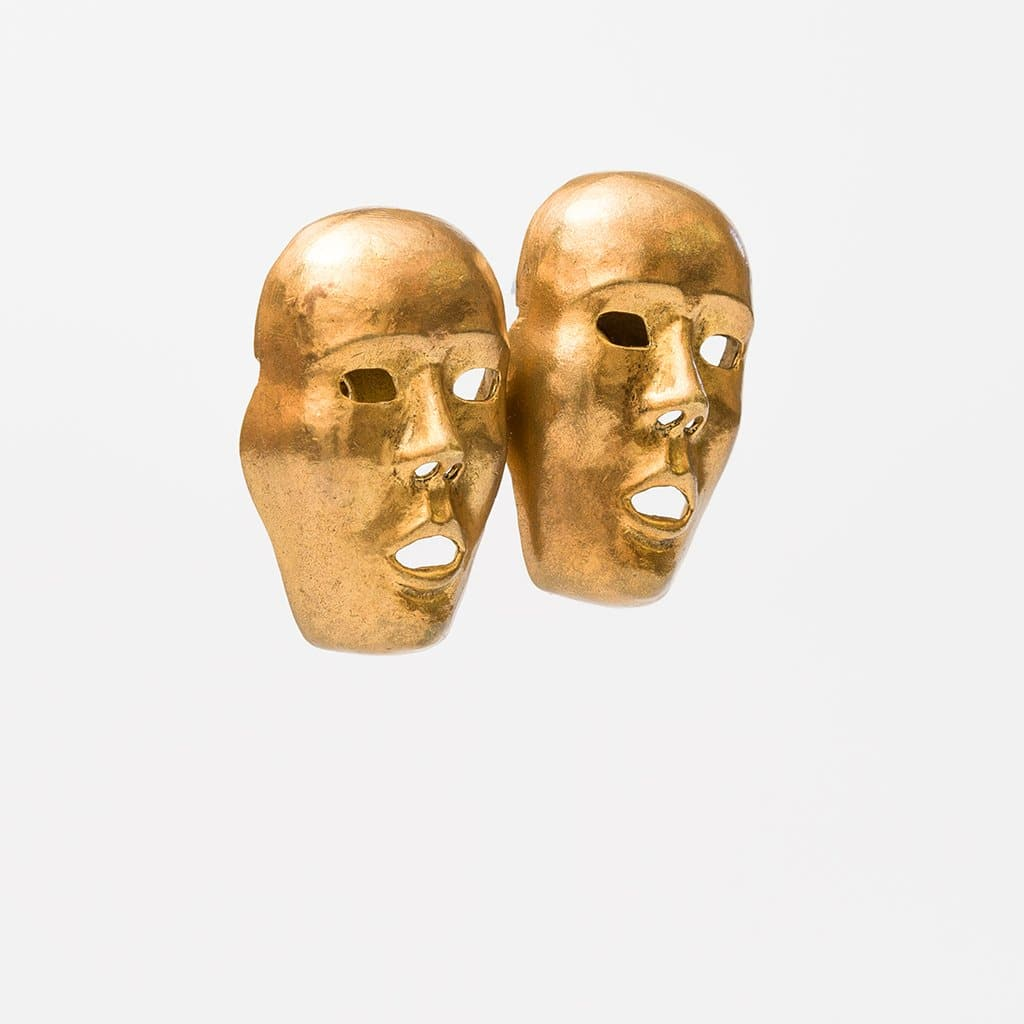 Isabel Canovas 1980s Theatrical Mask Earrings in Antiqued Gilt, France