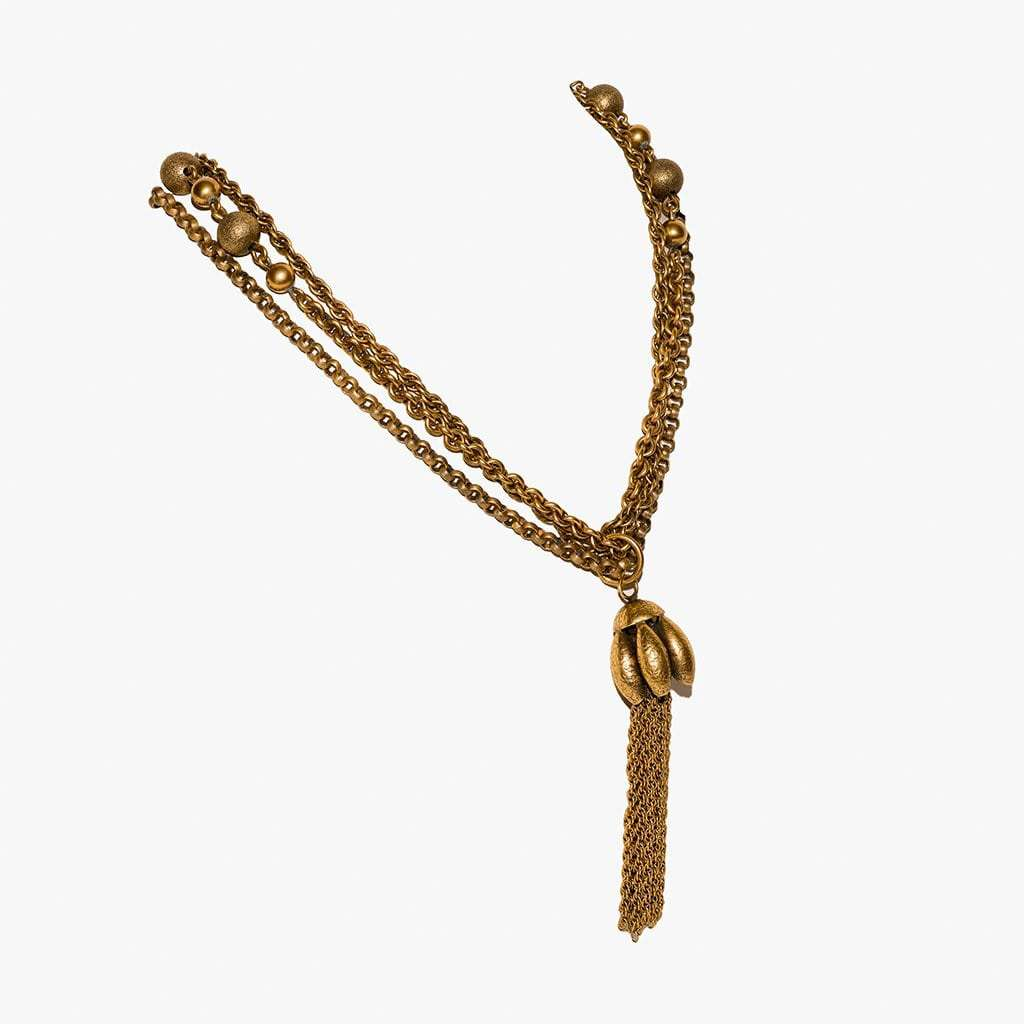 Joseff of Hollywood Spectacular Russian Gilt Multichain Tassle Superlong Necklace