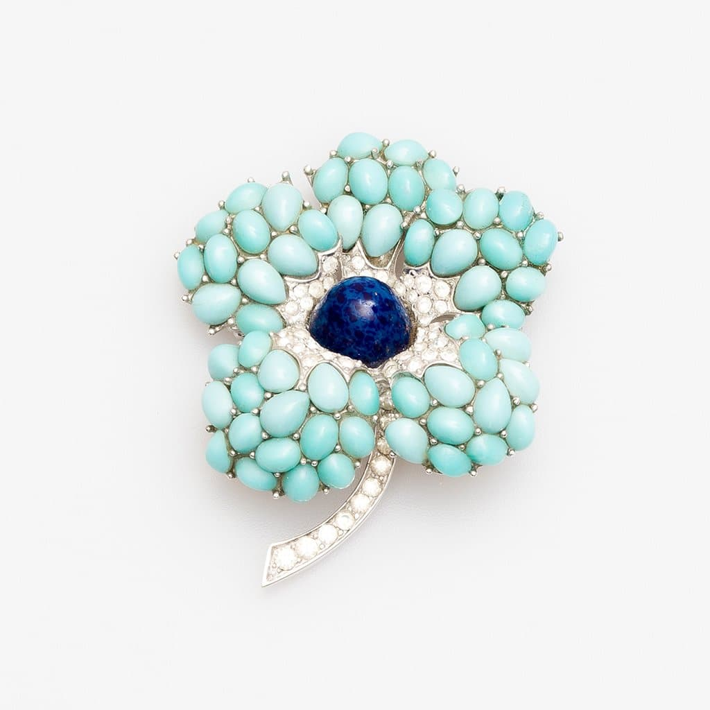Marcel Boucher Turquoise and Lapiz Set in Rhodium Plate 3-D Flower Brooch, 1960s