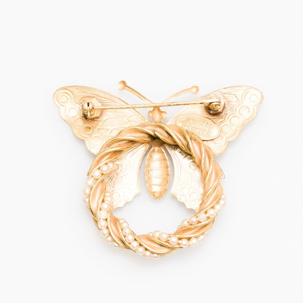 Miriam Haskell Russian Gilt and Pearl Butterfly Brooch