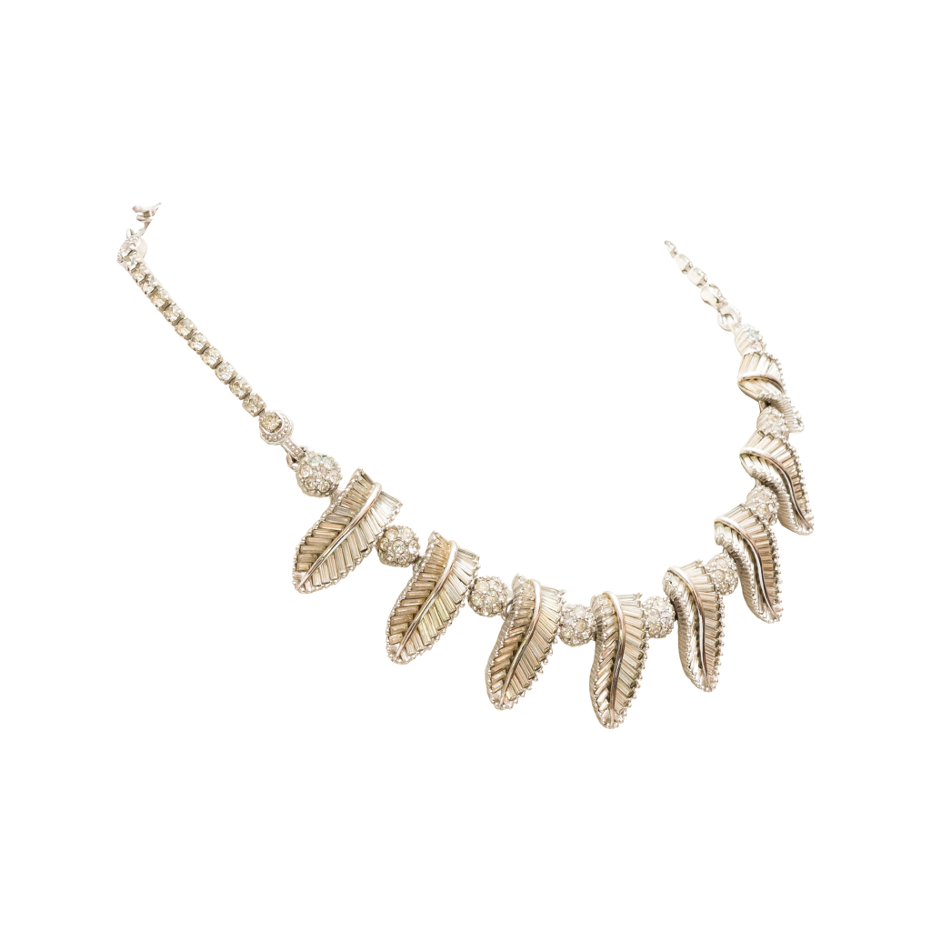 Pennino 1950s Rhodium and Paste Necklace