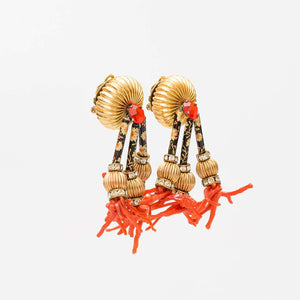 Unsigned 1980s Gilt Paste Cloissoné and Coral Handmade Earrings