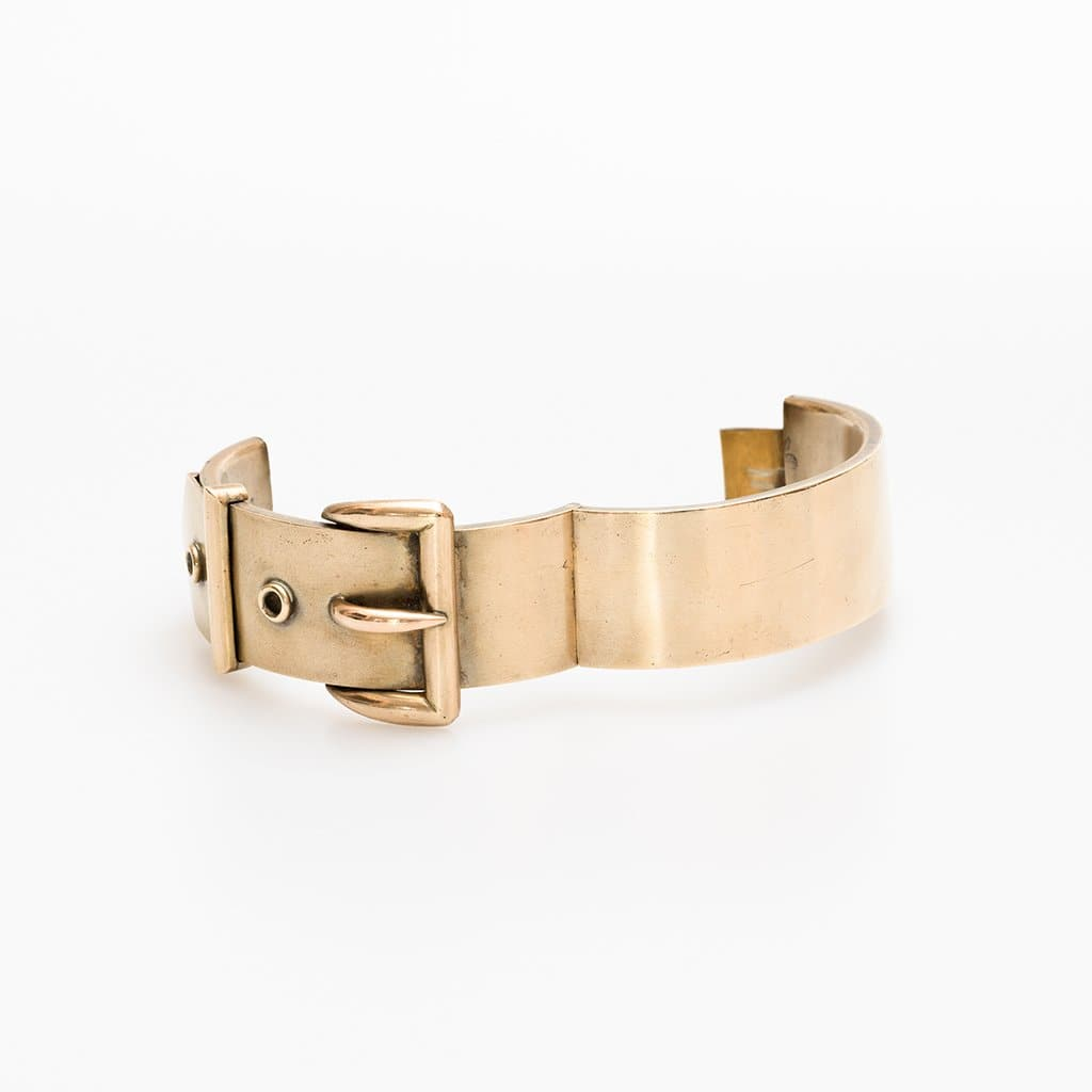 Unsigned Gold Washed Victorian Buckle Bracelet