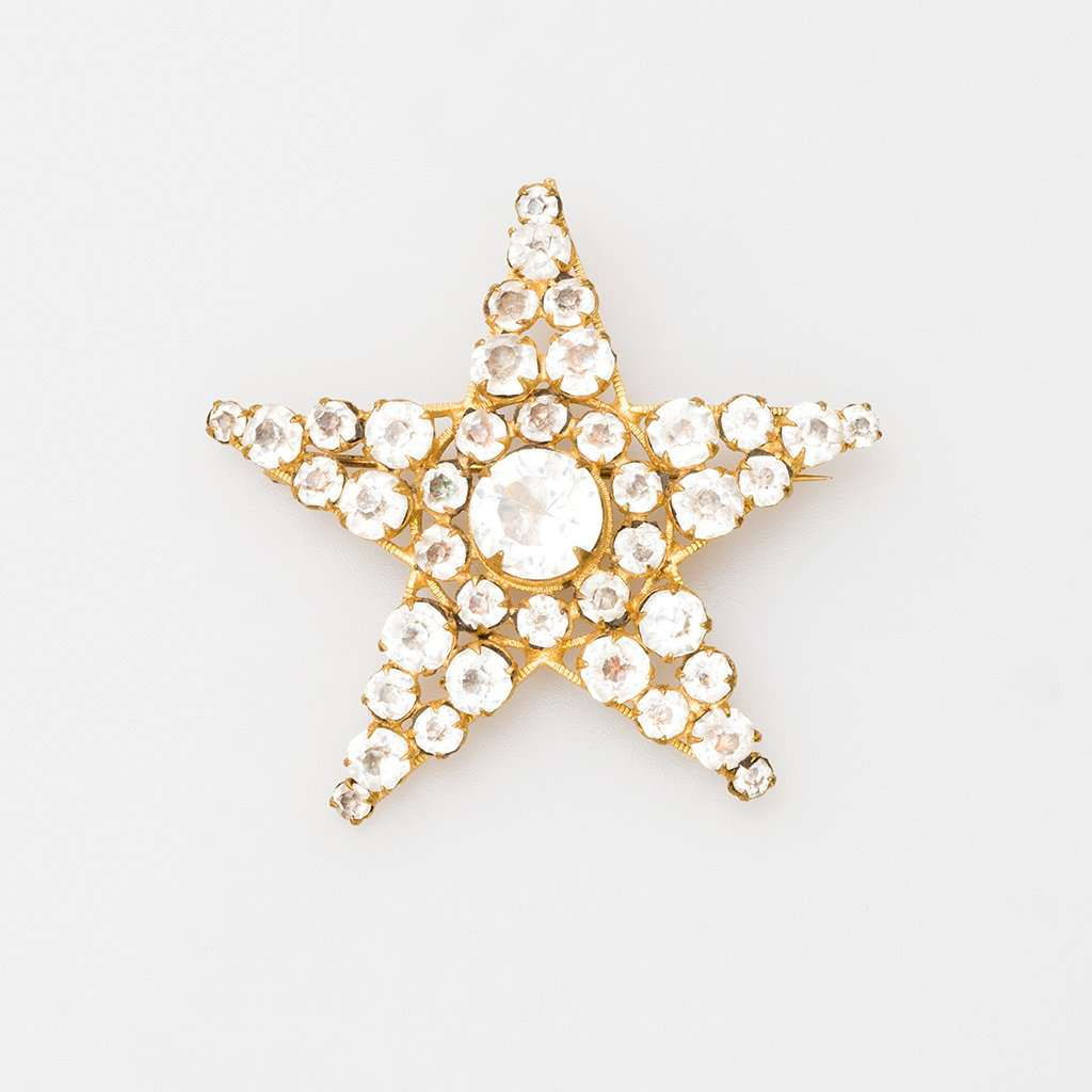 Unsigned Victorian Gilt Metal and Crystal Star Brooch