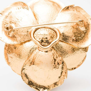 Yves Saint Laurent Four Tier Gilt and Paste Flower Brooch, 1980s