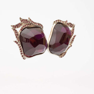Yves Saint Laurent 1980s Magnificent Amethyst Lucite And Paste 'Flame' Earrings