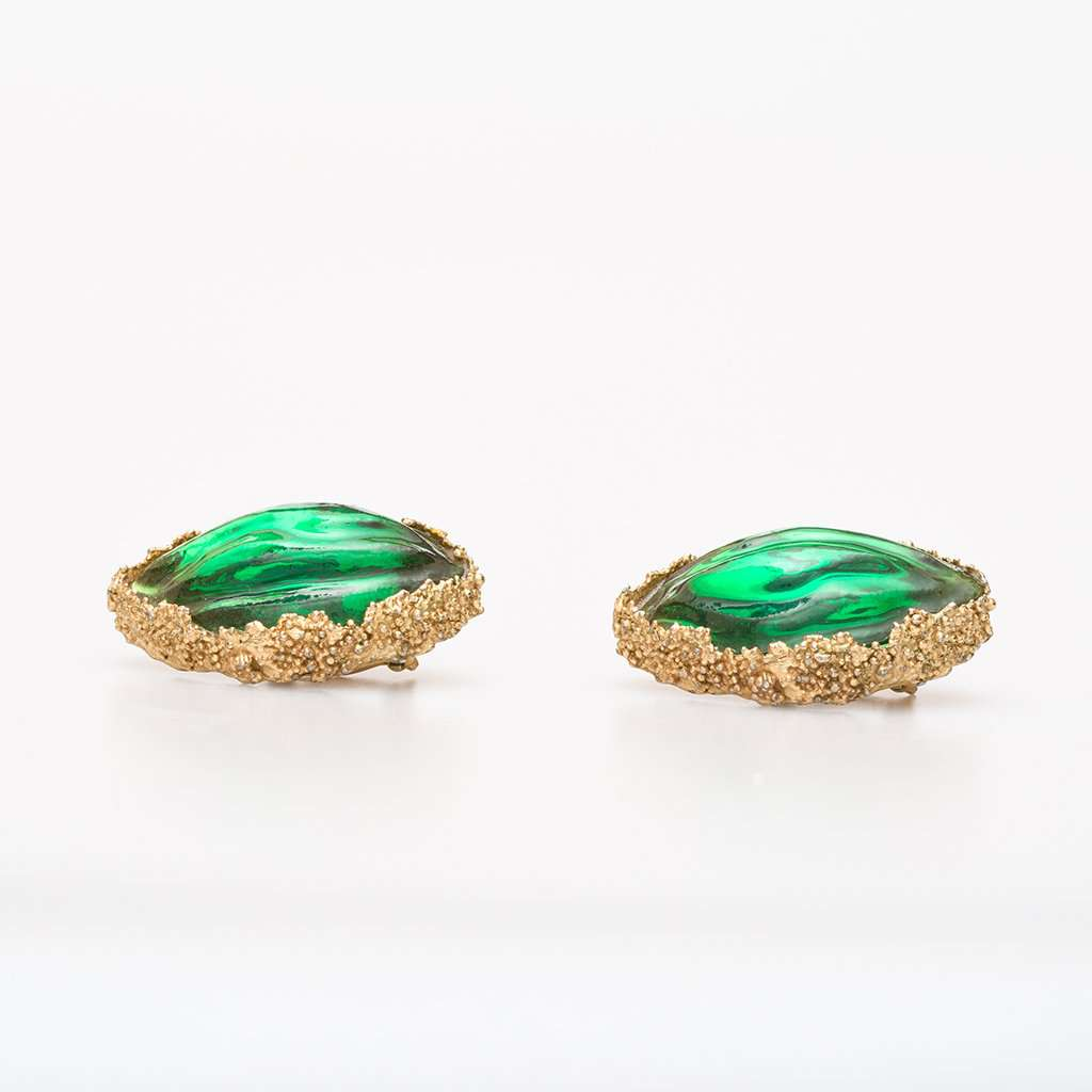 Yves Saint Laurent 1980s Gilt Metal and Glass Ear Clips