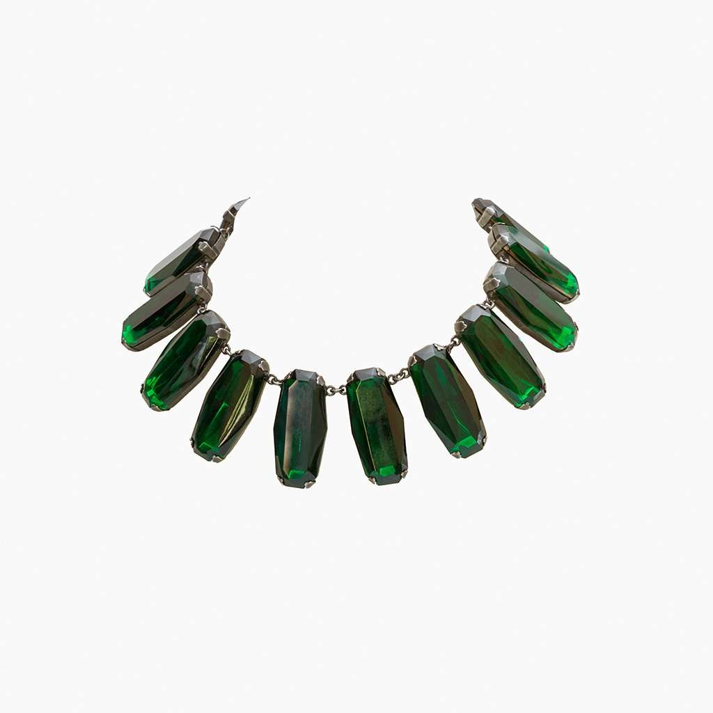 Yves Saint Laurent 1980s Superb Deep Emerald Glass Panel Necklace