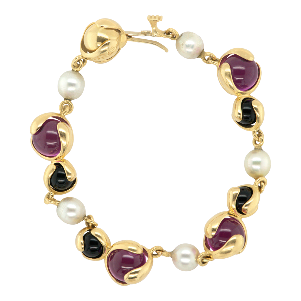 Signed Gold, Tourmaline, Black Onyx Bead and Cultured Pearl Bracelet, Marina B, Italian