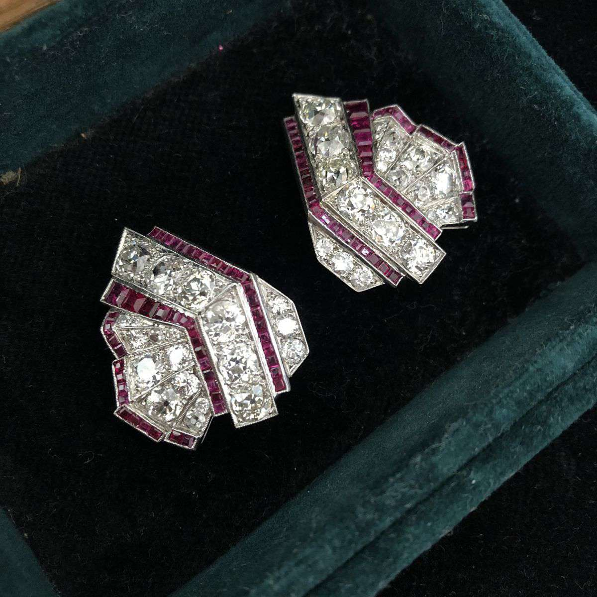 Unsigned Art Deco Ruby & Diamond Earclips