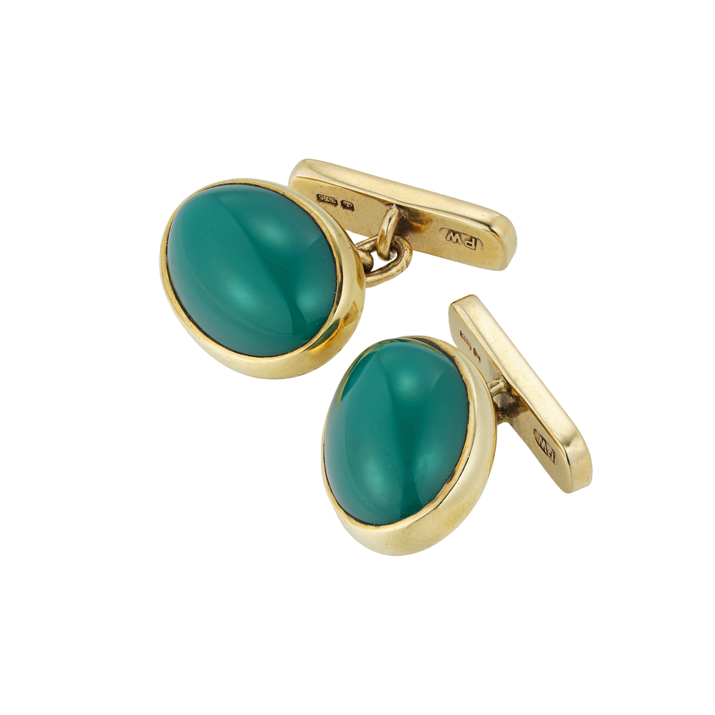 Unsigned Pair Of Vintage Chrysoprase And Gold Cufflinks