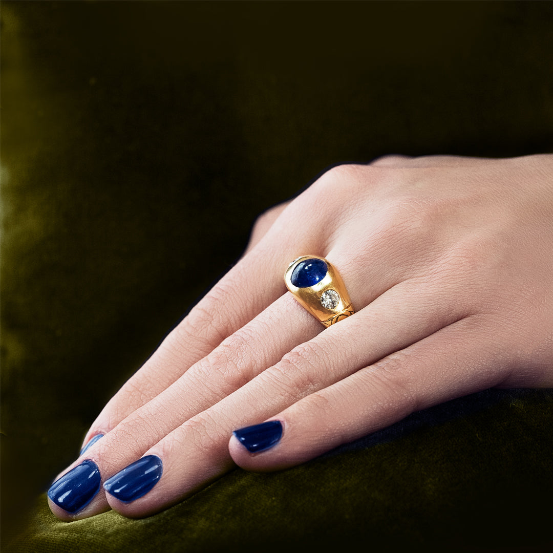 Unsigned 18ct Gold Cabochon Sapphire and Diamond Gypsy Ring