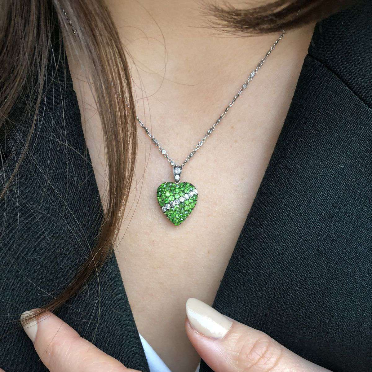 Unsigned Victorian Demantoid Garnet & Diamond Heart Locket