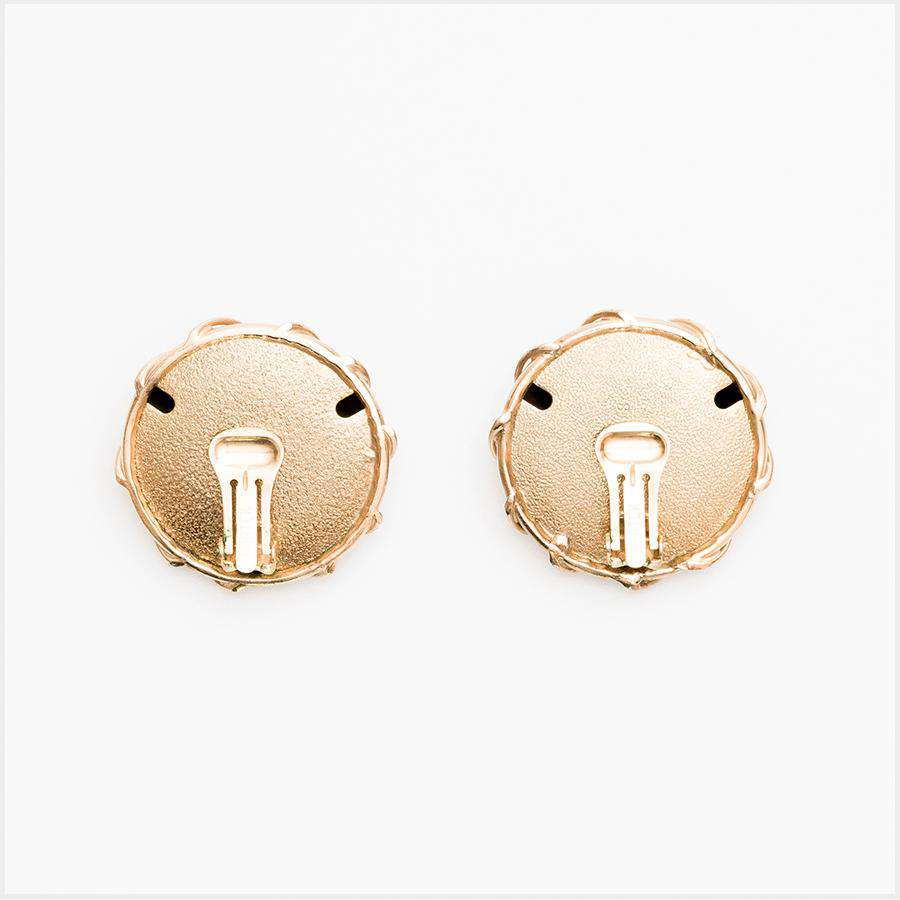 1960s Bartek Gilt Round Earrings