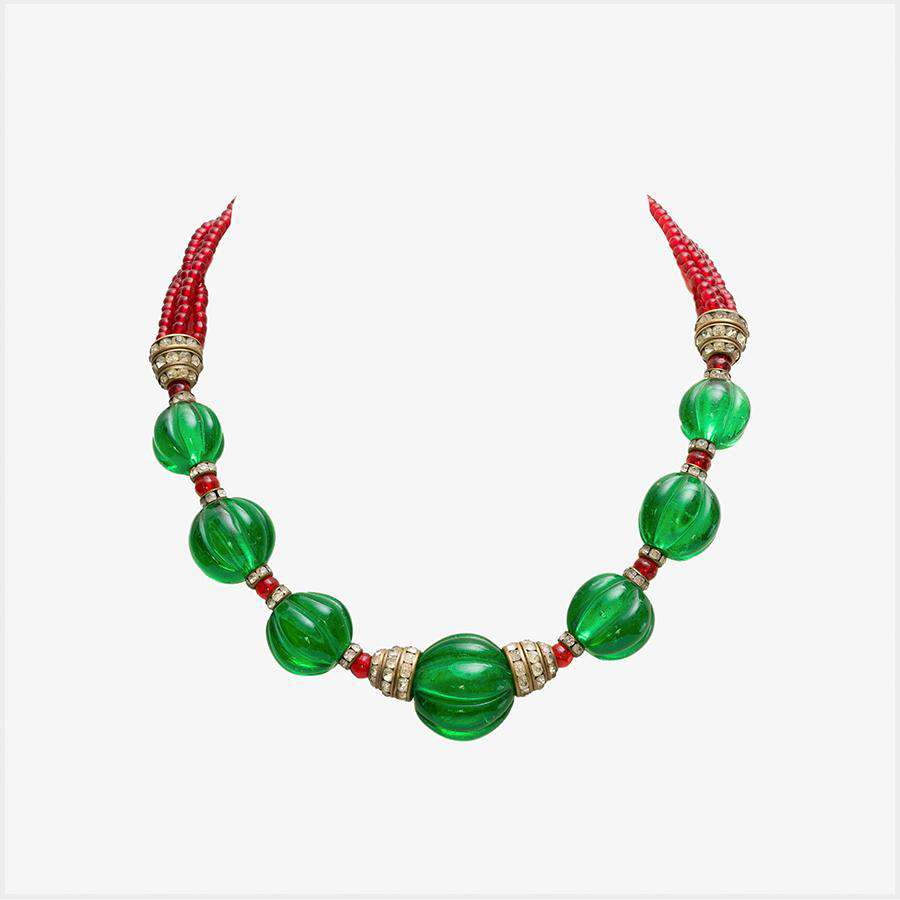 Chanel 1930s Moghul Style Emerald and Ruby Glass Necklace