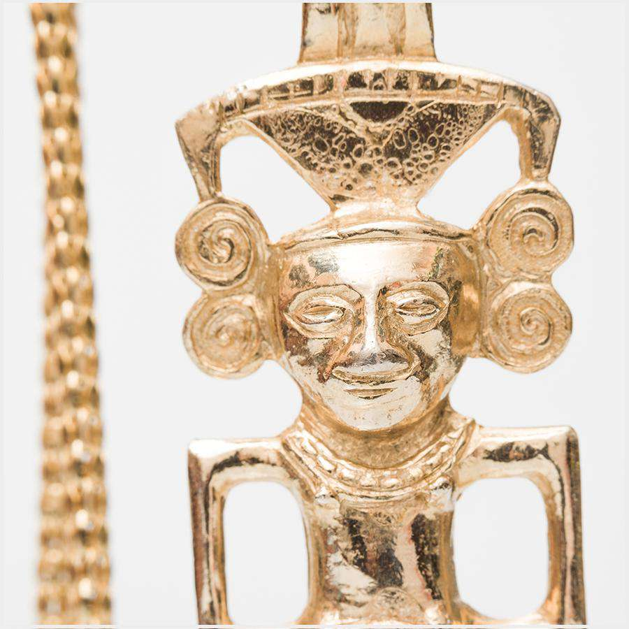 1970s Lawrence Vrba for Castlecliff Mayan Gilt Pendant on 1980s Givenchy Chain