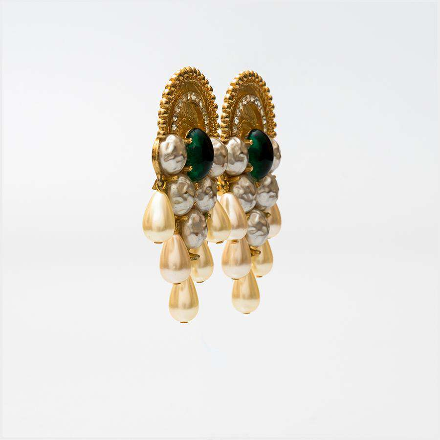 1960s Spectacular Gilt, Paste and Faux Pearl Earrings from Mosell