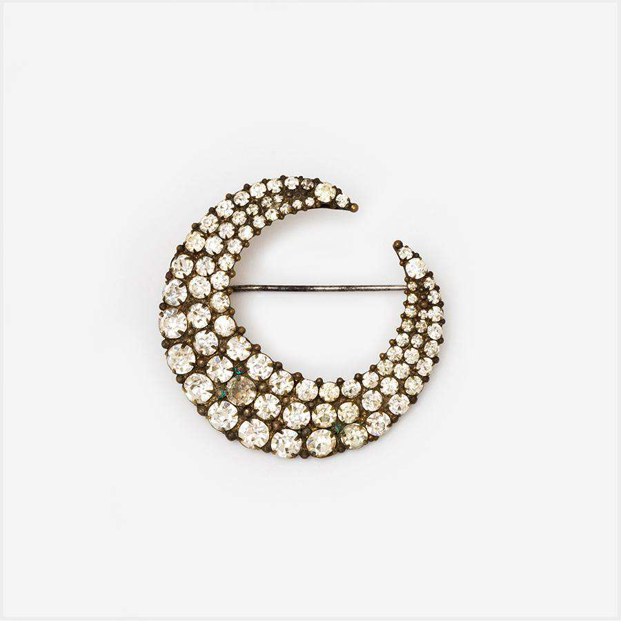 1870s Lead Crystal and Brass Moon Brooch