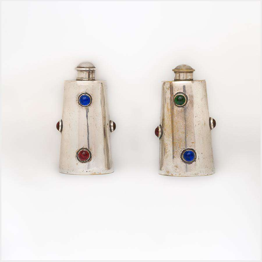 Unsigned 1920/1930s Jewelled EPNS Flasks
