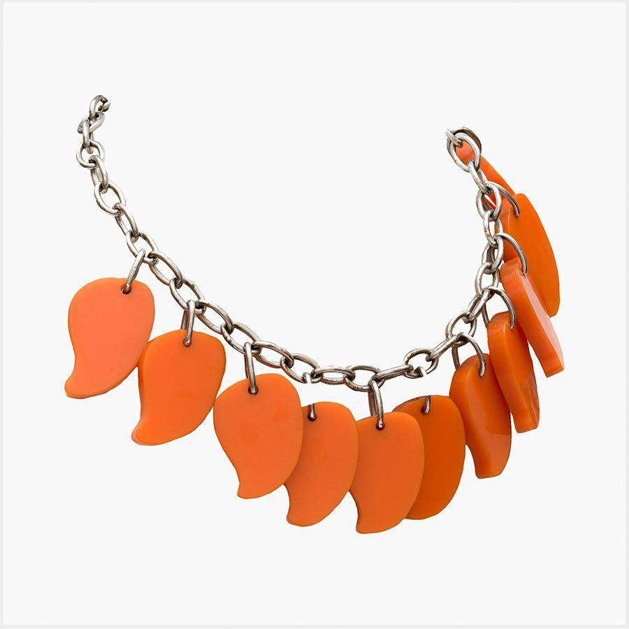 1930s Bakelite Orange Petal Necklace with Chrome Chain