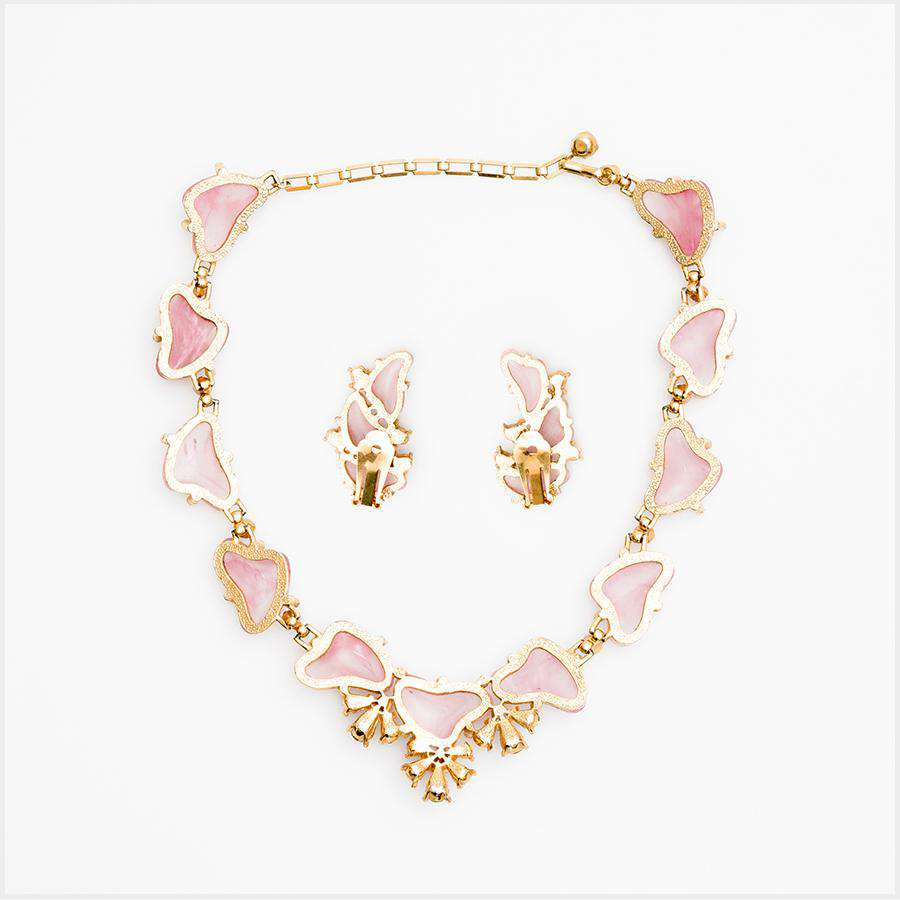 1950s Pink and Grey Art Glass and Paste Necklace and Earrings Set